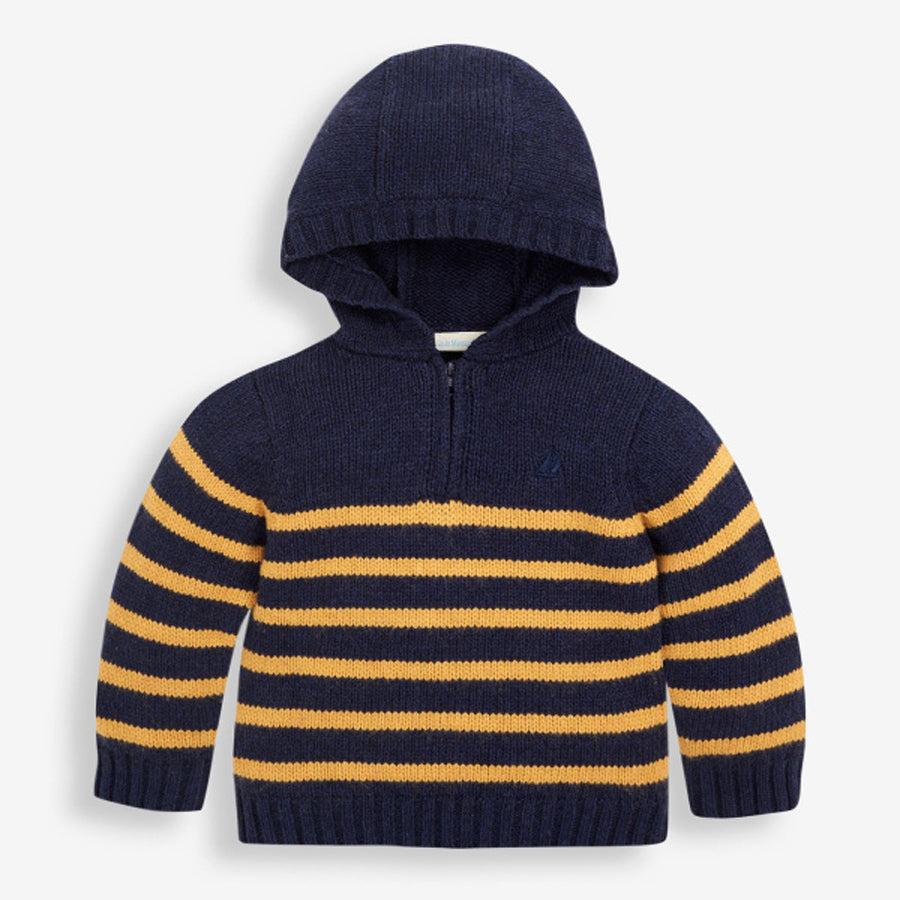 Navy & Mustard Stripe hooded Jumper-JoJo Maman Bebe-Joanna's Cuties
