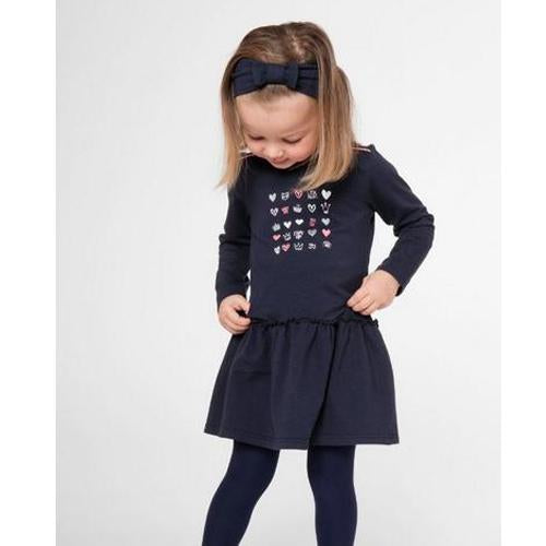 Navy Blue Dress With Headband-3 Pommes-Joanna's Cuties