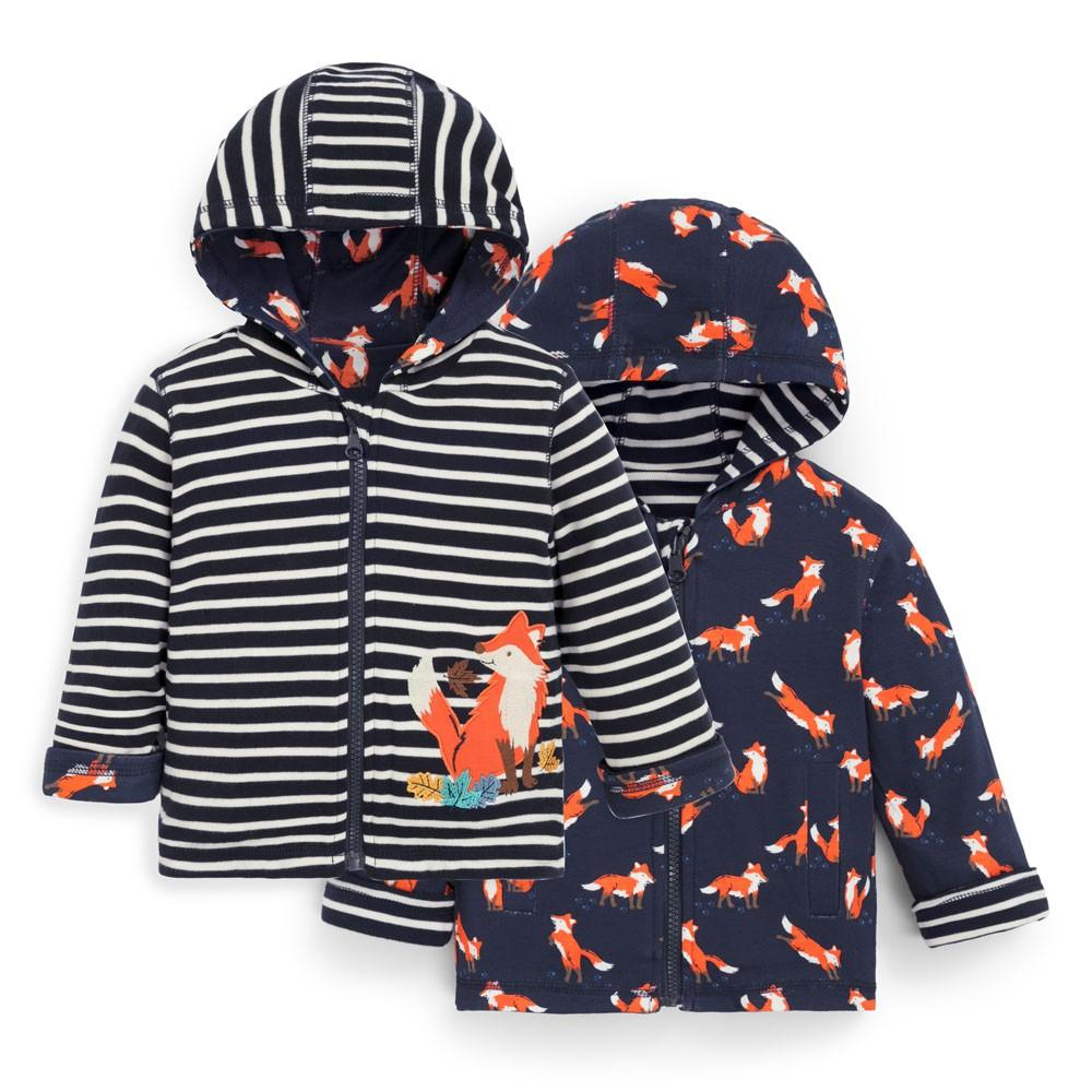 Navy Fox Reversible Zipper Hoodie - JoJo Maman Bebe - joannas-cuties