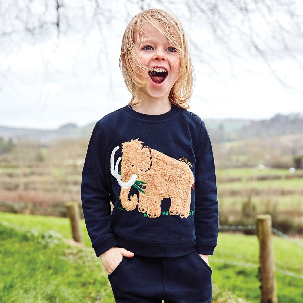 Navy Furry Mammoth Sweatshirt - JoJo Maman Bebe - joannas-cuties