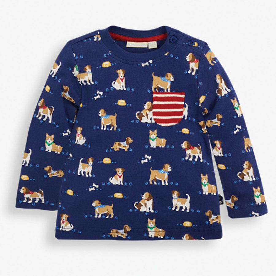 Navy Puppy Print Top
