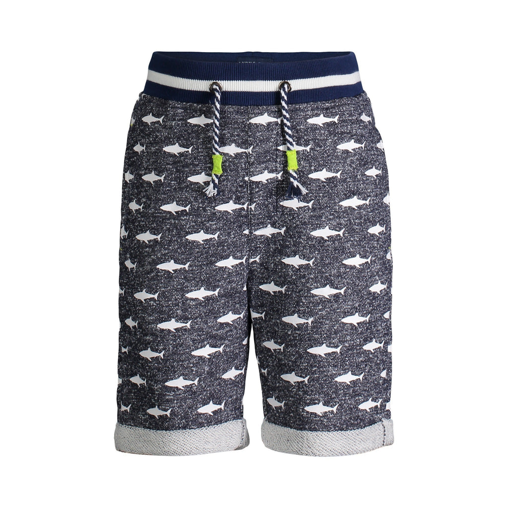 Navy Shark Print French Terry Shorts - Andy & Evan - joannas-cuties