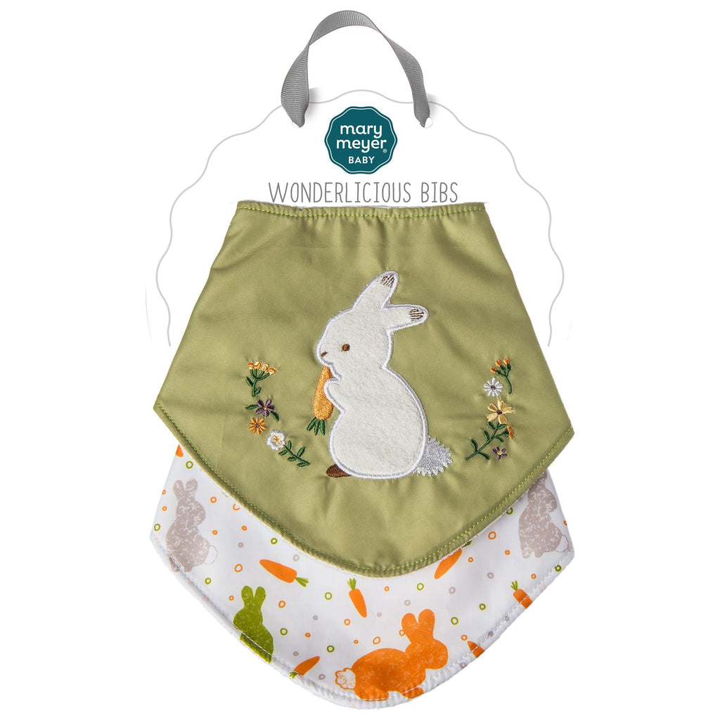 Oatmeal Bunny Wonderlicious Bib Set – 15×7″ - Mary Meyer - joannas-cuties