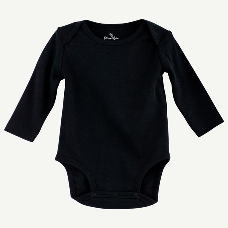 Black Pima Cotton Long Sleeve Bodysuit - Oliver & Rain - joannas-cuties