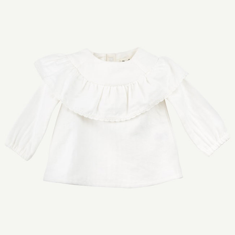 Ivory Woven Embroidered Lace Top - Oliver & Rain - joannas-cuties