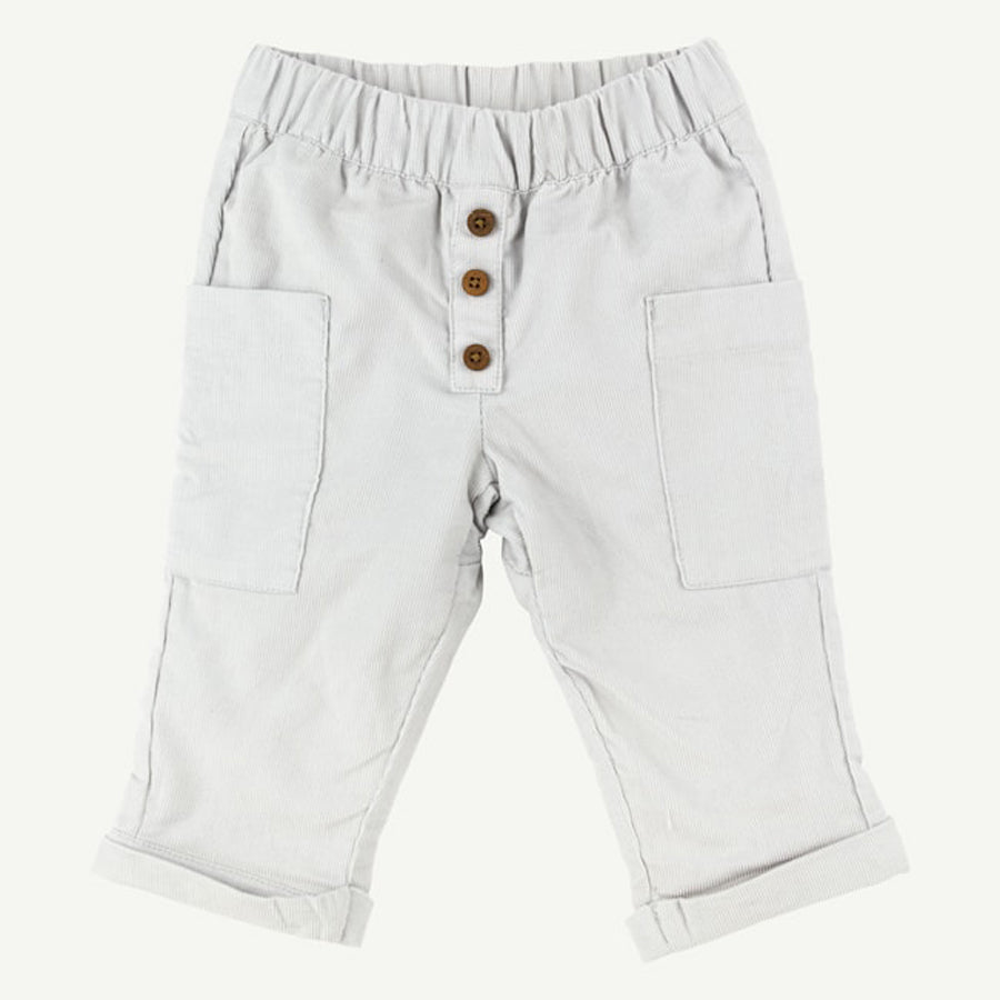 Gray Babycord Pocket Pant with Roll Cuffs - Oliver & Rain - joannas-cuties