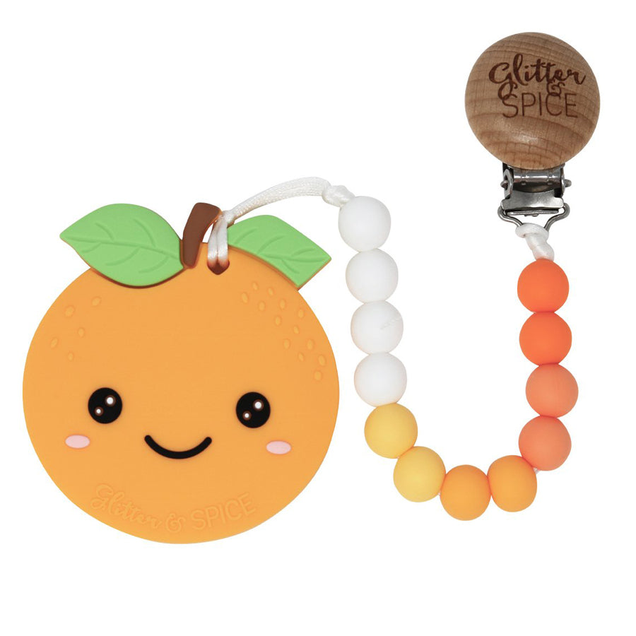 Orange Teether - Satsuma, with clip-Glitter & Spice-Joanna's Cuties