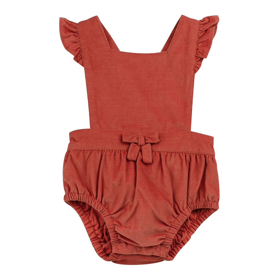 Apricot Babycord Romper with Flutter Sleeves-Oliver & Rain-Joanna's Cuties