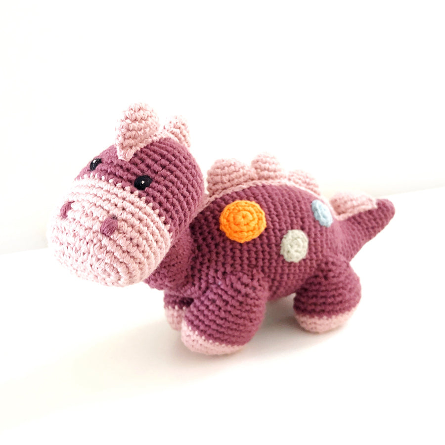 Organic Dino Rattle - Purple-Pebble-Joanna's Cuties