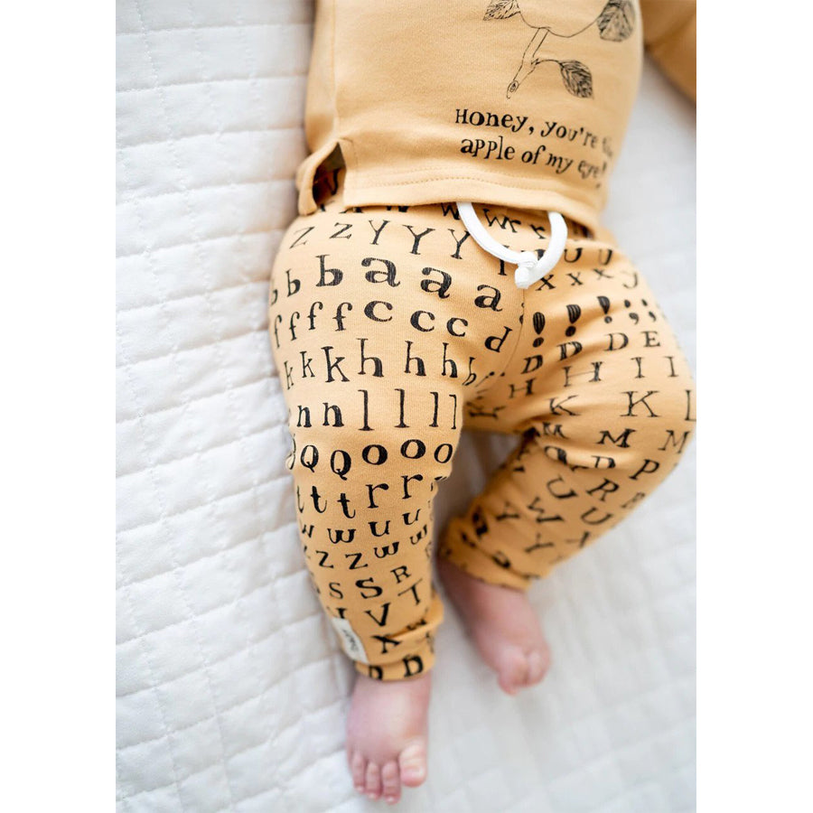 Organic Drawstring Leggings in Honey Letters - L'ovedbaby - joannas-cuties