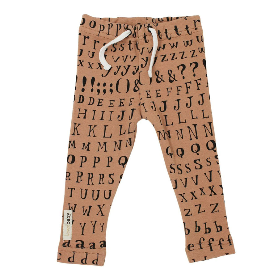 Organic Drawstring Leggings in Nutmeg Letters - Brown - L'ovedbaby - joannas-cuties