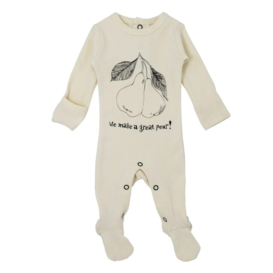 Organic Graphic Footie in Beige Pear - L'ovedbaby - joannas-cuties