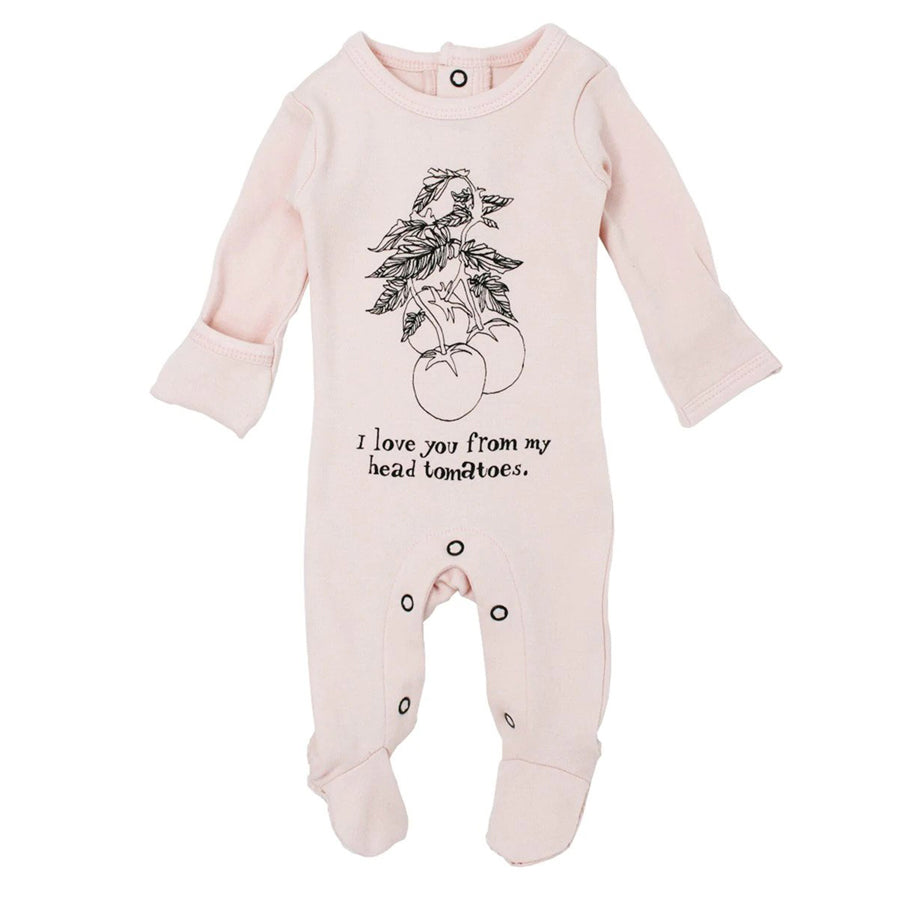 Organic Graphic Footie in Blush Tomato-L'ovedbaby-joannas_cuties
