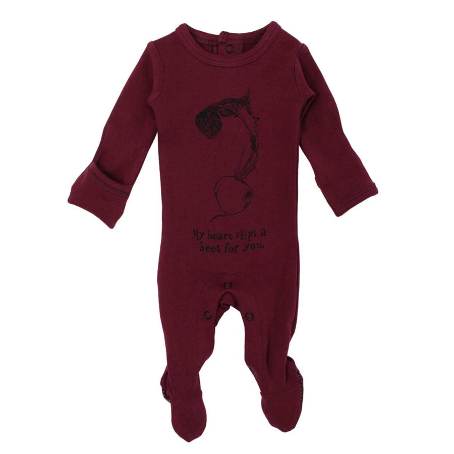 Organic Graphic Footie in Cranberry Beet - L'ovedbaby - joannas-cuties