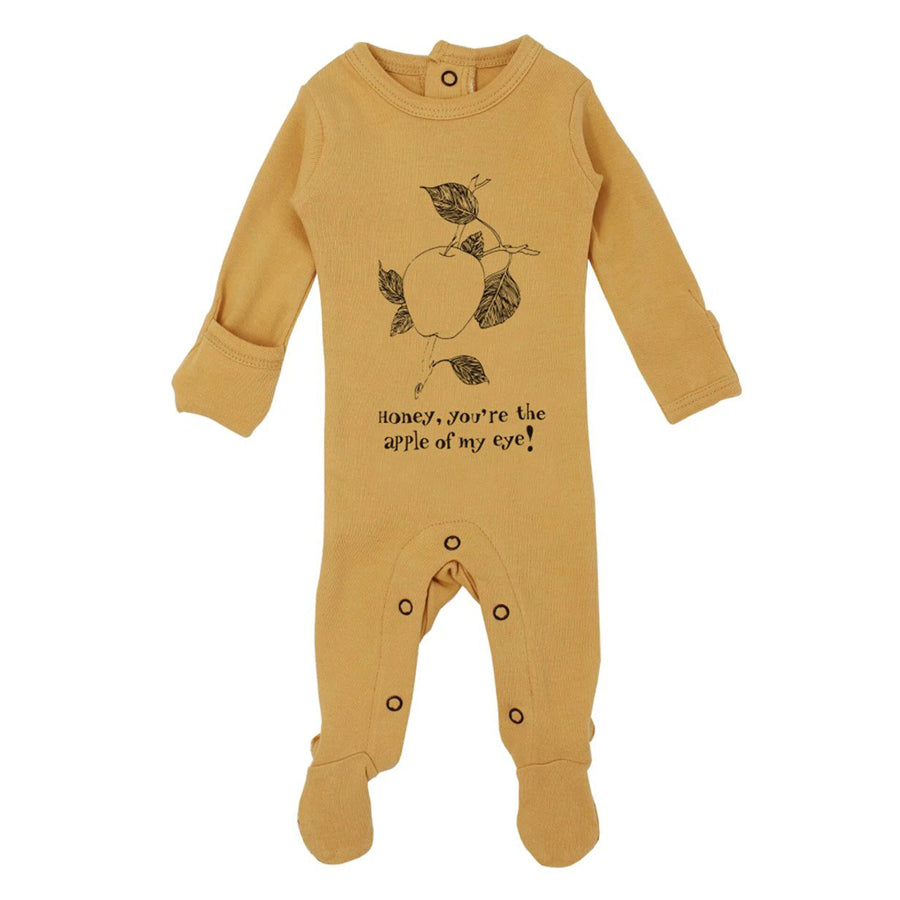 Organic Graphic Footie in Honey Apple - L'ovedbaby - joannas-cuties