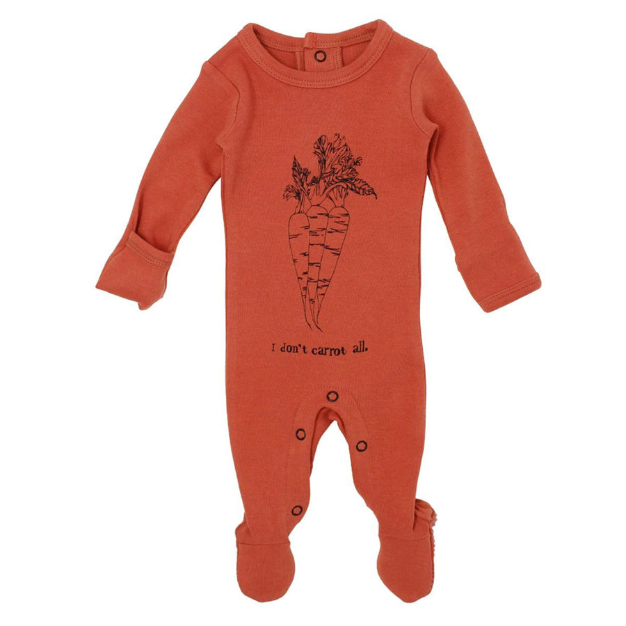 Organic Graphic Footie in Maple Carrot-L'ovedbaby-joannas_cuties