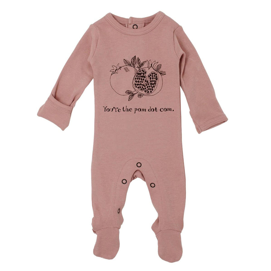 Organic Graphic Footie in Mauve Pomegranate-L'ovedbaby-Joanna's Cuties