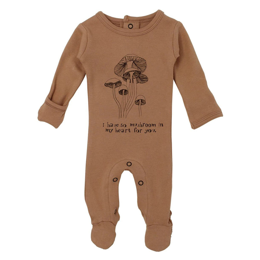 Organic Graphic Footie in Nutmeg Mushrooms - L'ovedbaby - joannas-cuties