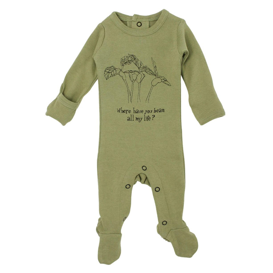 Organic Graphic Footie in Sage Beans, L'ovedbaby - Joanna's Cuties