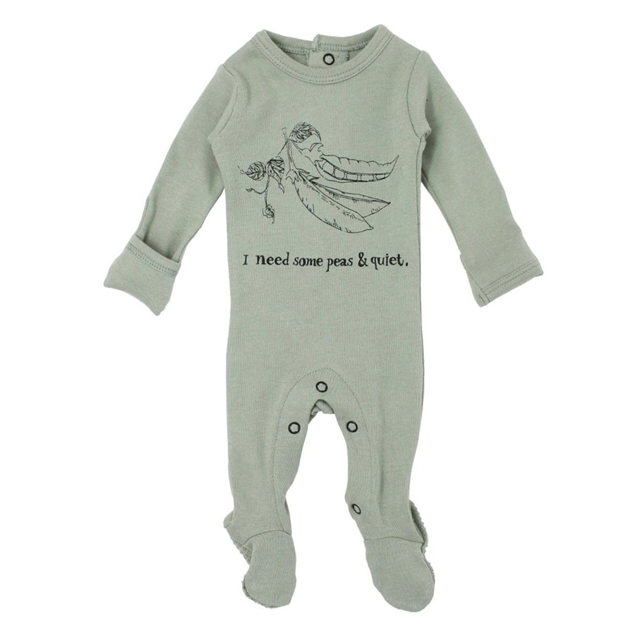Organic Graphic Footie in Seafoam Peas - L'ovedbaby - joannas-cuties