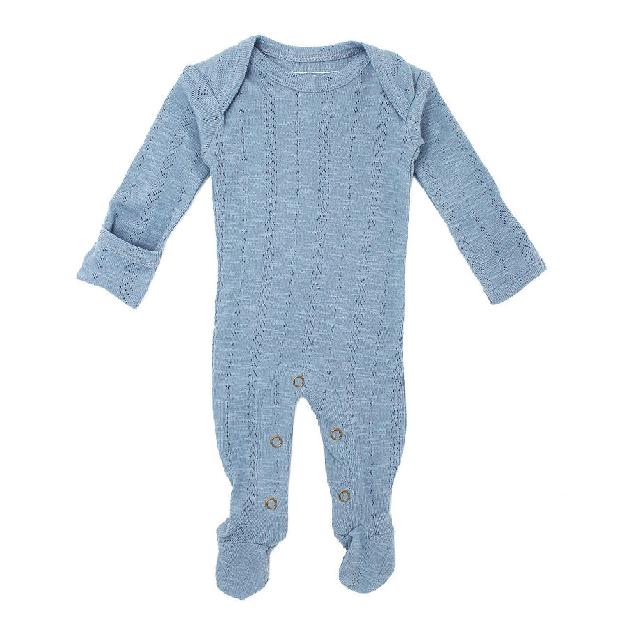 Organic Pointelle Lap-Shoulder Footie in Pool-L'ovedbaby-Joanna's Cuties