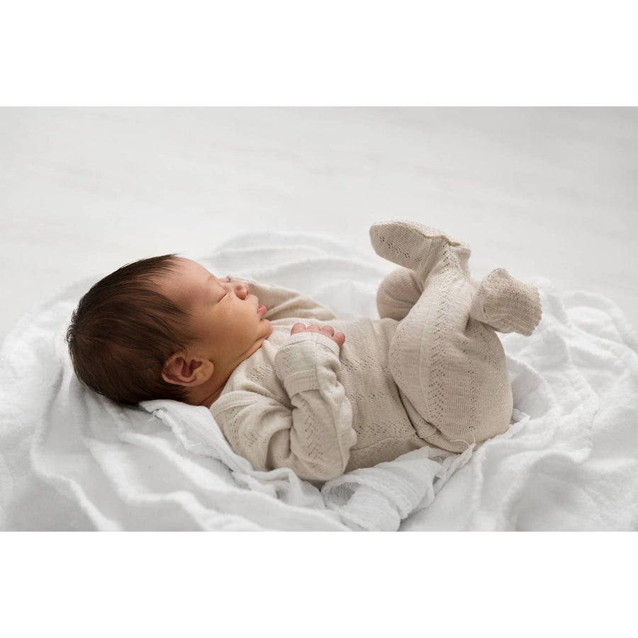 Organic Pointelle Lap-Shoulder Footie in Stone-L'ovedbaby-Joanna's Cuties