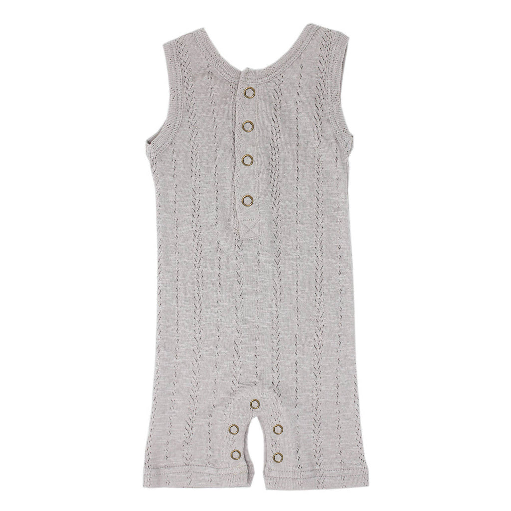 Organic Pointelle Sleeveless Romper in Light Gray-L'ovedbaby-Joanna's Cuties