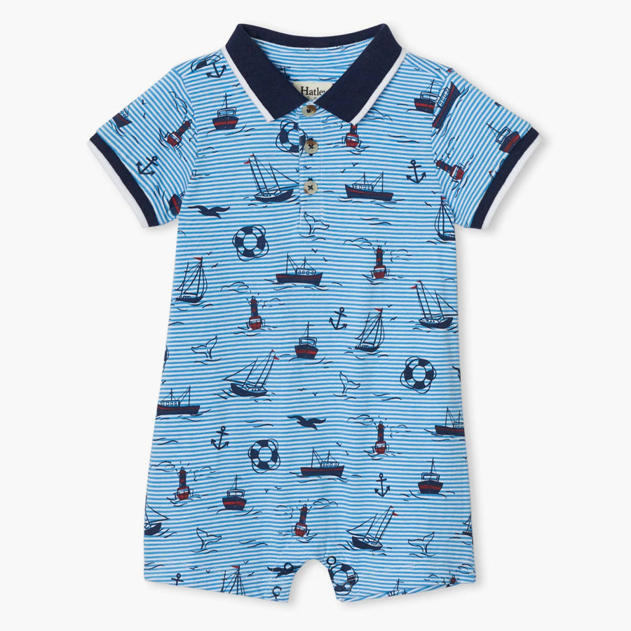Out At Sea Baby Polo Romper-Hatley-Joanna's Cuties