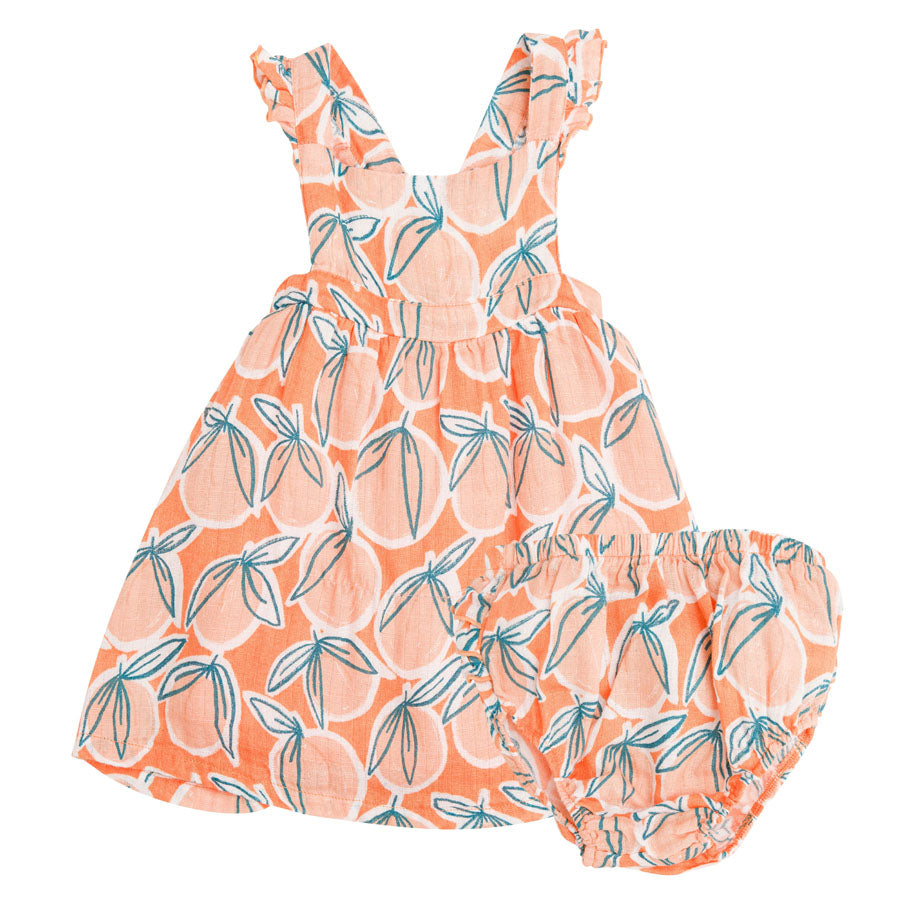 Peachy Pinafore Top And Bloomer Cantaloupe-Angel Dear-Joanna's Cuties