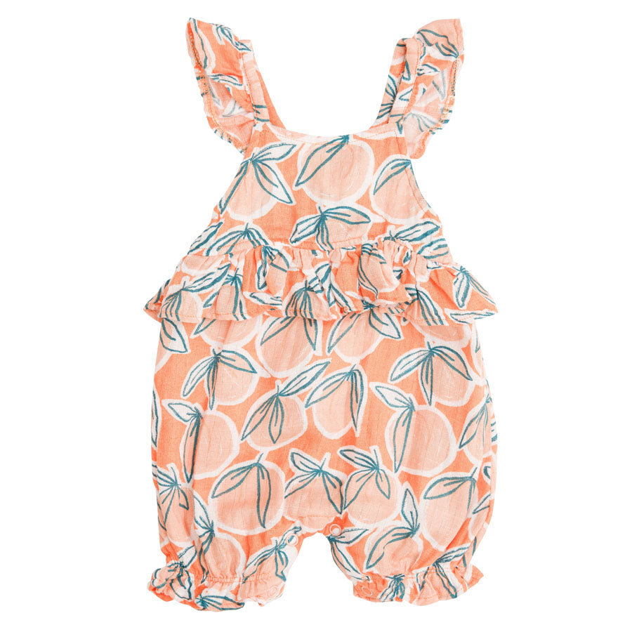 Peachy Ruffle Empire Waist Shortie Romper Cantaloupe-Angel Dear-Joanna's Cuties