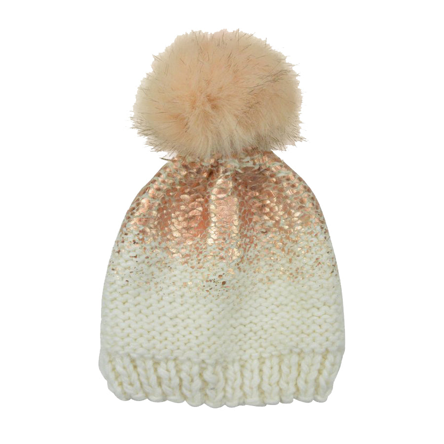 Pearl Metallic Hat with Fur Pom - Cream And Rose Gold-The Blueberry Hill-Joanna's Cuties