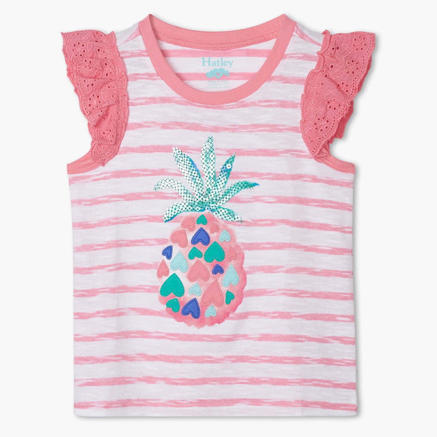 Pineapple Hearts Eyelet Trim Tank Top