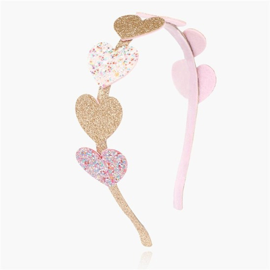 Pink and Gold Heart Headband-Sparkle Sisters by Couture Clips-Joanna's Cuties