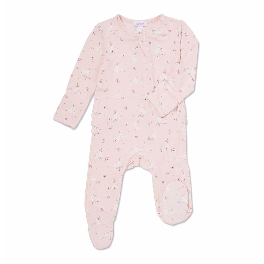Baby Bunnies Pink Bamboo Zipper Ruffle Footie-Angel Dear-Joanna's Cuties