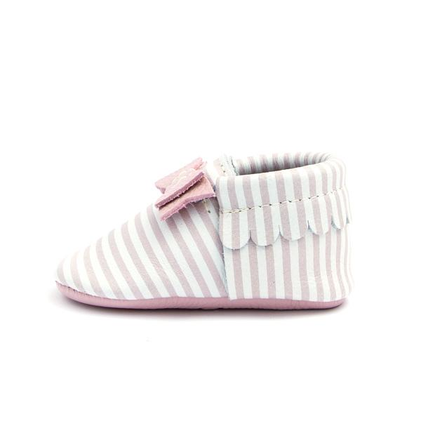Pink Candy Stripe Bow Moccasins - Freshly Picked - joannas-cuties