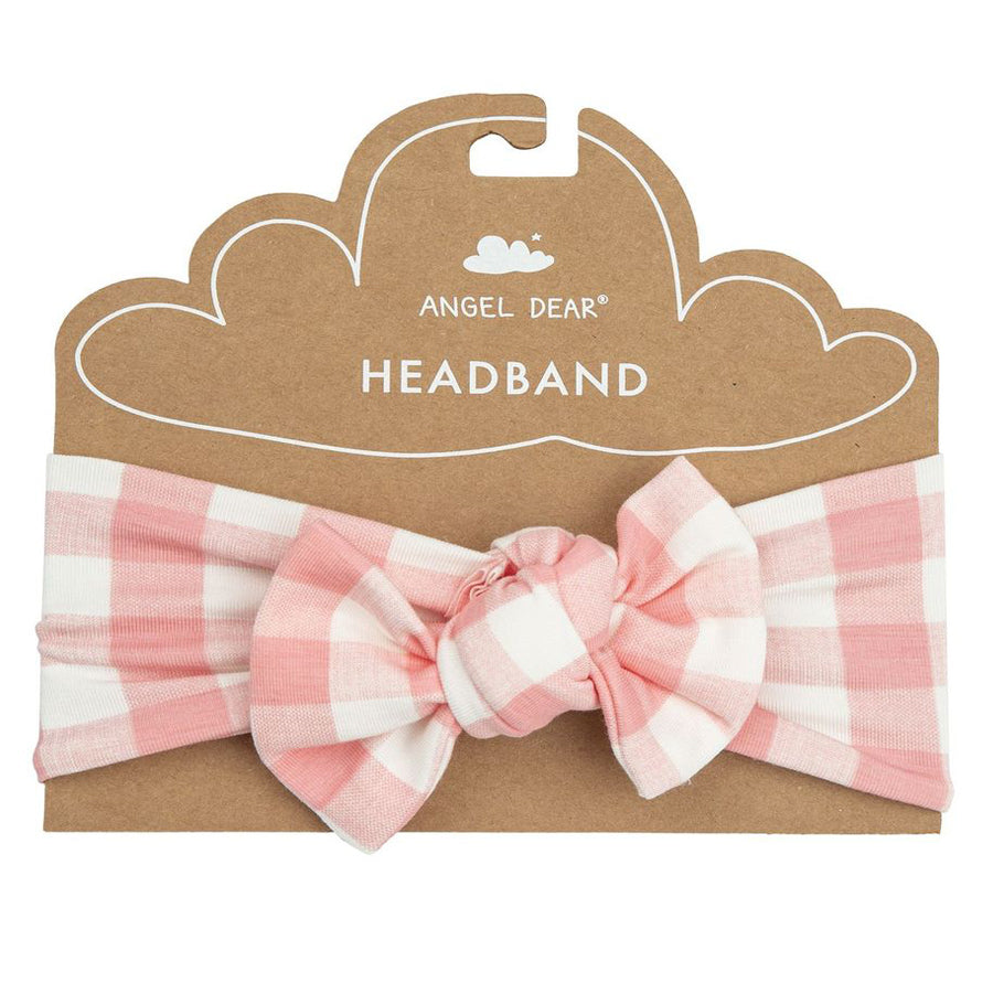 Pink Gingham Headband-Angel Dear-Joanna's Cuties