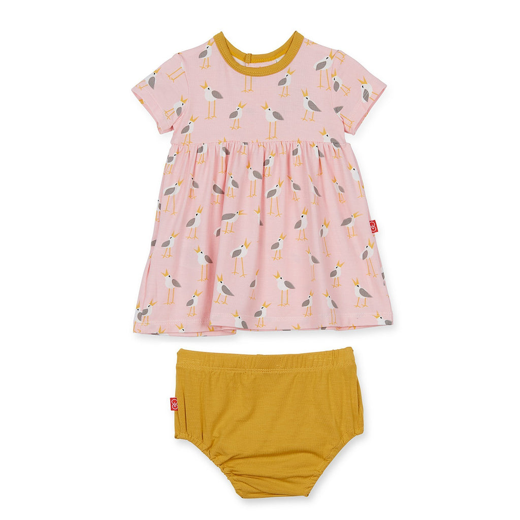 Pink Plovers Modal Magnetic Dress + Diaper Cover - Magnetic Me - joannas-cuties