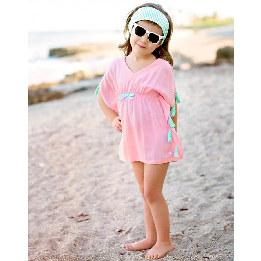 Pink Tassel Kaftan Cover-Up-Ruffle Butts-Joanna's Cuties