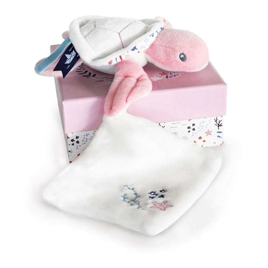 Under the Sea: Pink Turtle Plush with Blanket, Pink-Doudou Et Compagnie-Joanna's Cuties