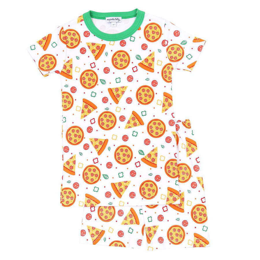 Pizza Night Orange Short Pajama-Magnolia Baby-Joanna's Cuties