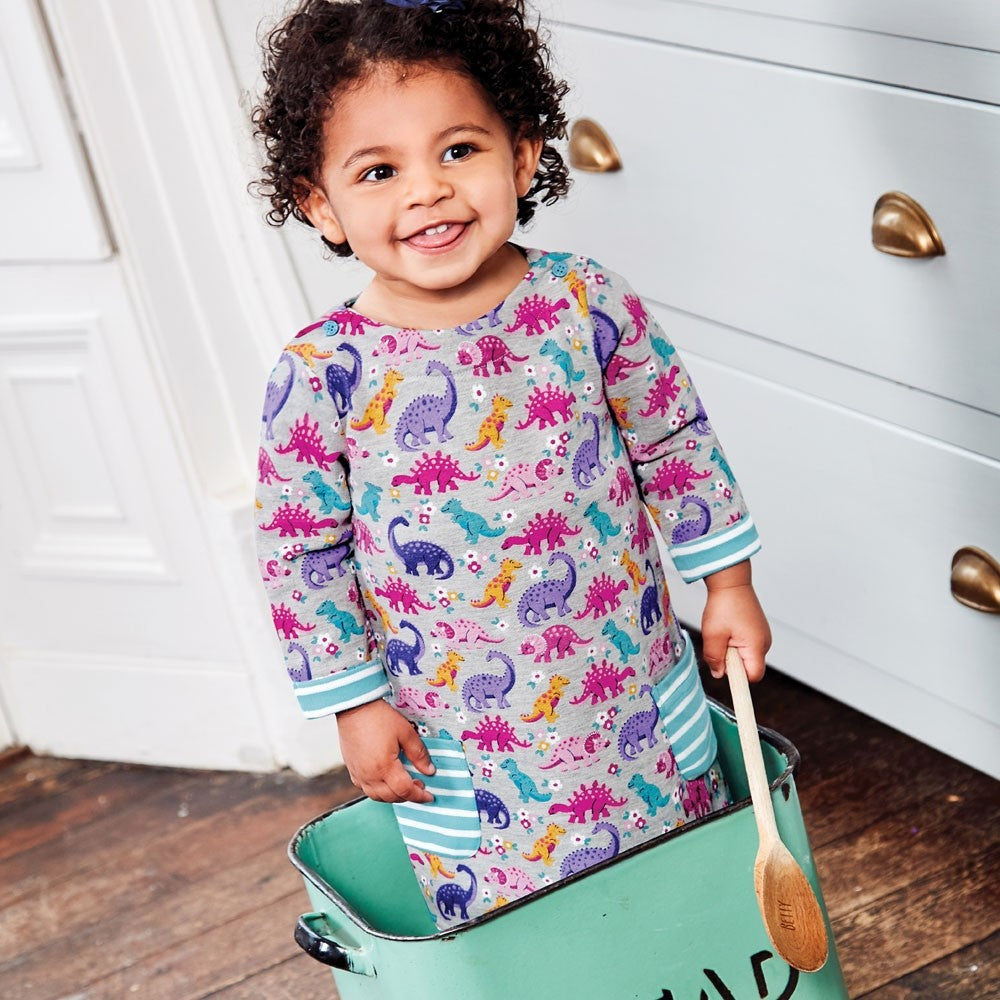 Marl Gray Pocket Dino A-Line Dress - JoJo Maman Bebe - joannas-cuties