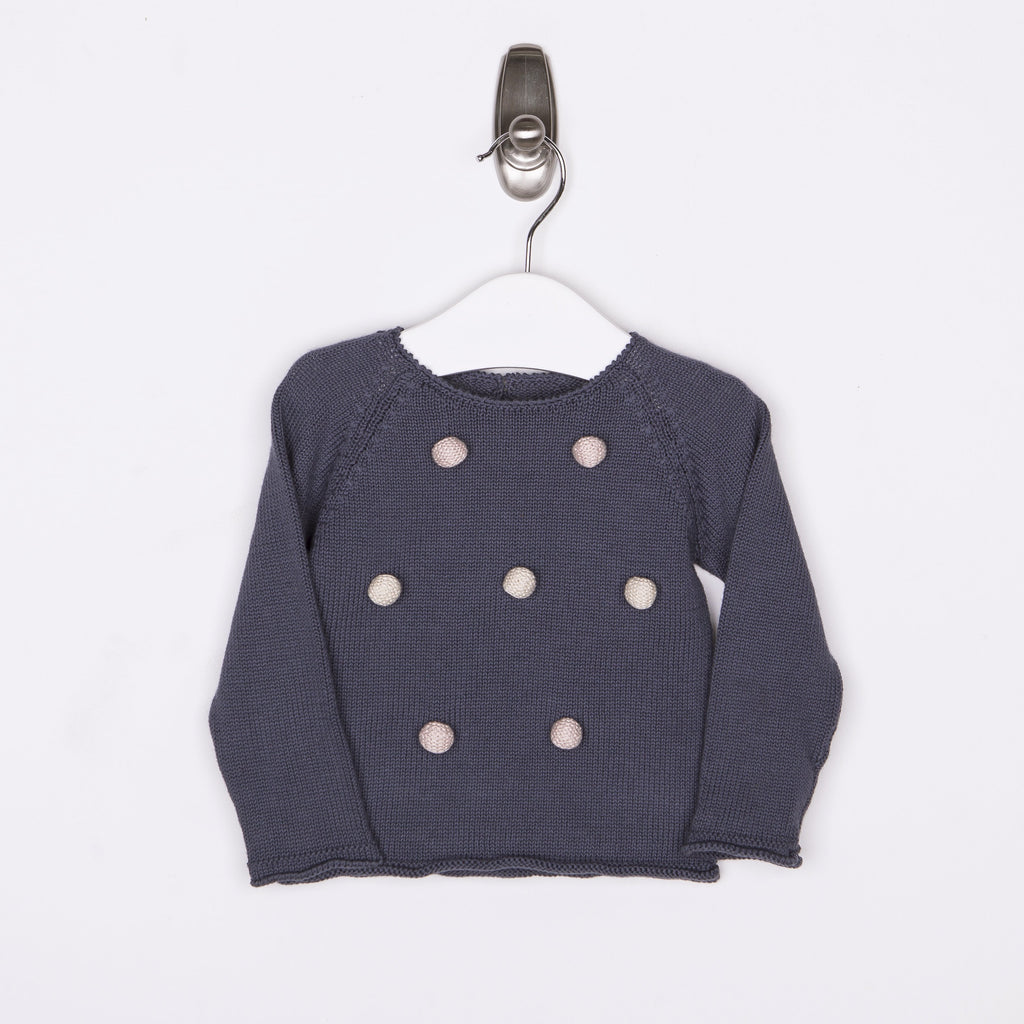 Pompom Sweater - Blue-Tun Tun-Joanna's Cuties