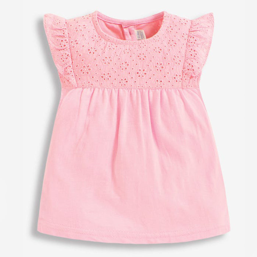 Pretty Embroidered Top Pink-JoJo Maman Bebe-Joanna's Cuties