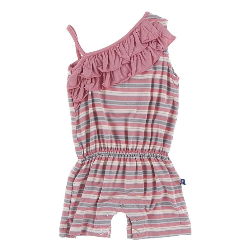 Print Diagonal Ruffle Romper India Dawn Stripe - Kickee Pants - joannas-cuties