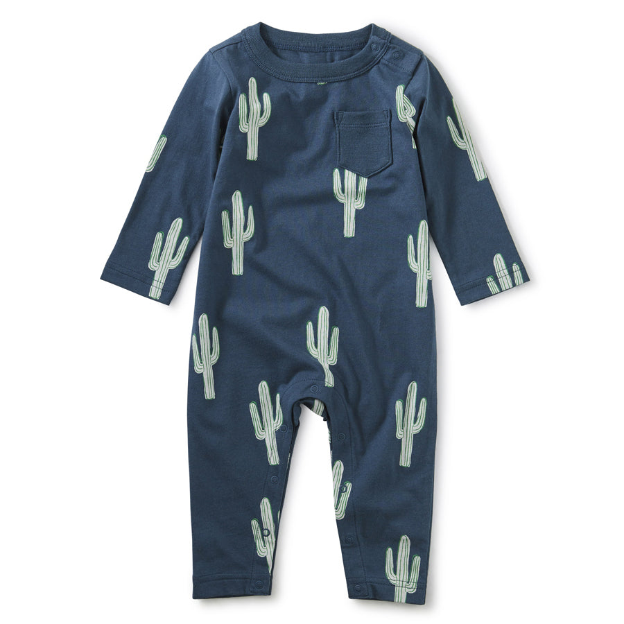 Printed Pocket Romper - Cool Cacti