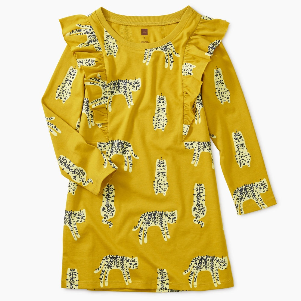 Printed Ruffle Sleeve Dress - Tea - joannas-cuties