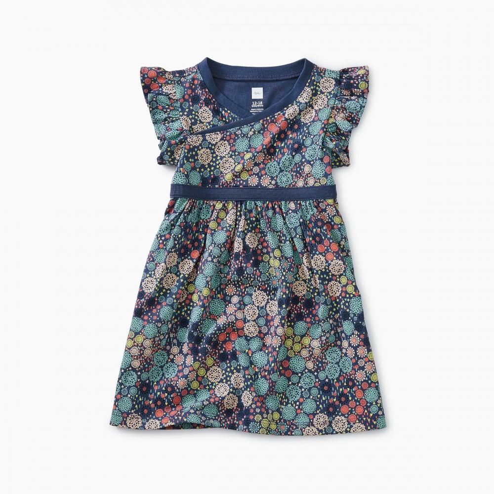 Printed Wrap Neck Baby Dress - Tea - joannas-cuties
