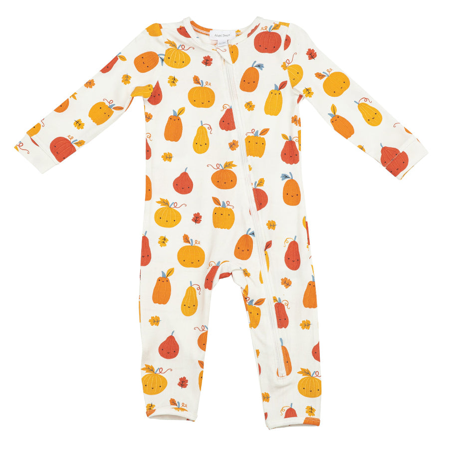 Pumpkin Patch Zipper Romper-Angel Dear-Joanna's Cuties