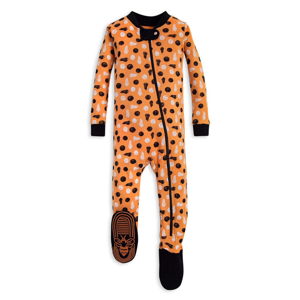 Pumpkins Organic Baby Zip Up Footed - Burt's Bees Baby - joannas-cuties