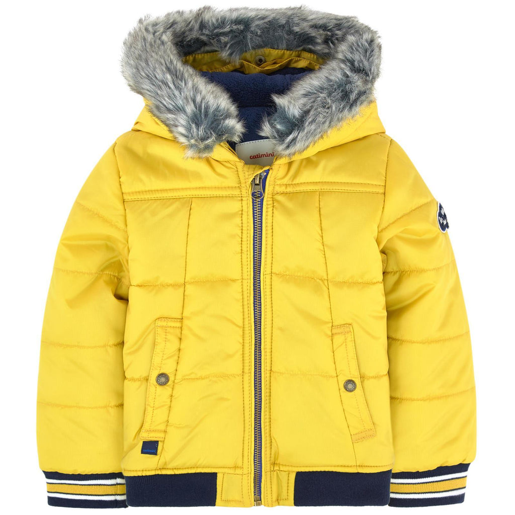 Quilted Puffa Jacket With Ffaux Fur Hood-Catimini-Joanna's Cuties